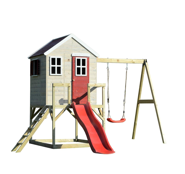 Wendi giocattoli Casetta Bambini Giardino di Legno M24 Nordic Lodge casetta su Piattaforma Alta 90 cm con Scivolo Lungo 175 cm con Altalena Singola Alta 200 cm