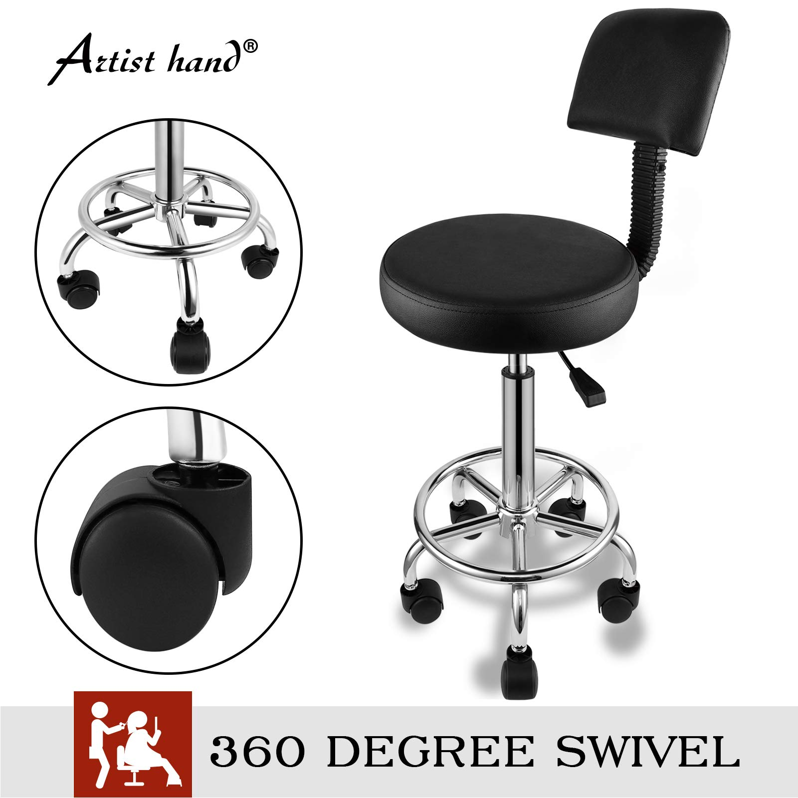 Artist Hand Adjustable Hydraulic Rolling Swivel Salon Stool 360 Degrees Swivel Hair Salon Stool Chair Tattoo Spa Barber Stool Chairs With Backrest Chrome Steel Frame Black