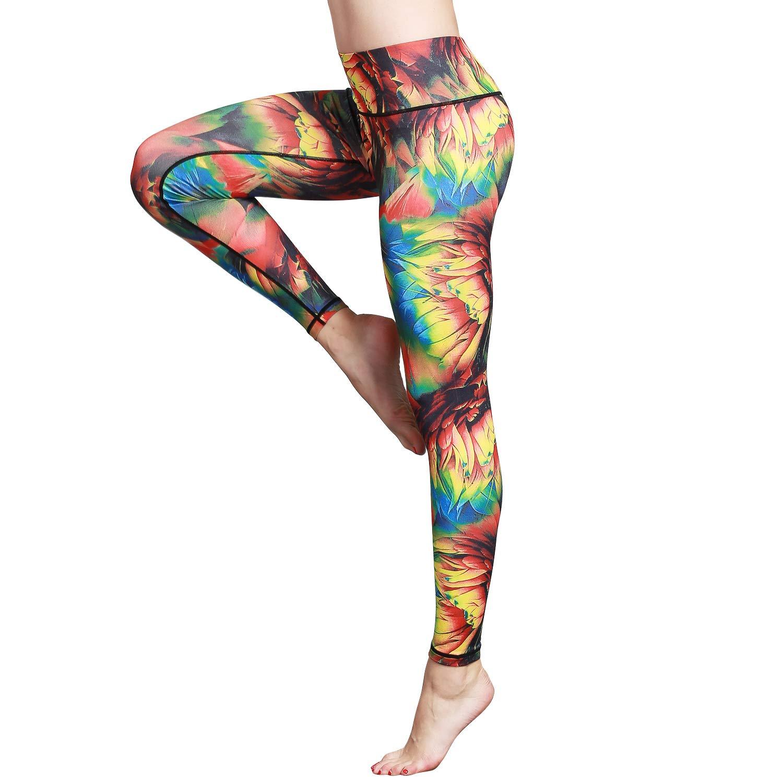 Hk48 Petalsy Witkey Printed Extra Long Women Yoga Leggings High Waist Tummy Control Over The Heel Yoga Pants