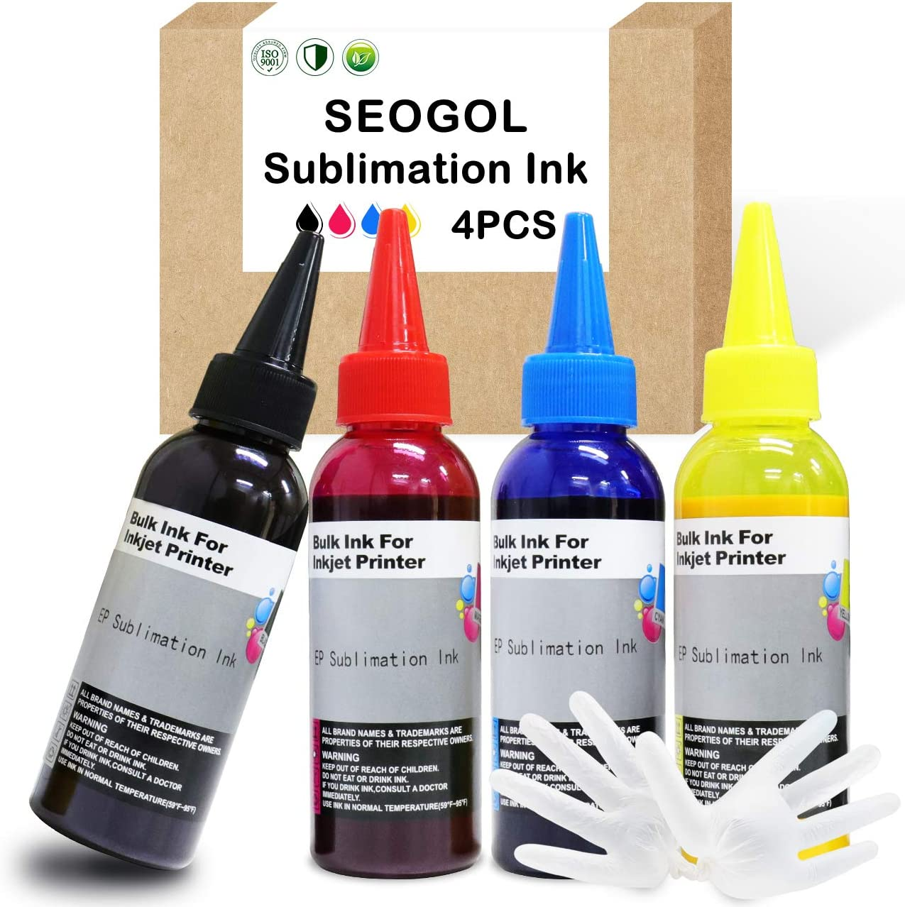 Seogol 400ml Sublimation Ink for Epson Inkjet Printers C88+ C88 WF7710 WF7720 ET2720 ET15000 ET4700 ET4760 WF7210 WF7610 Heat Press Transfer on Mugs, Pillow, Plates, Polyester Shirts, Phone Cases etc