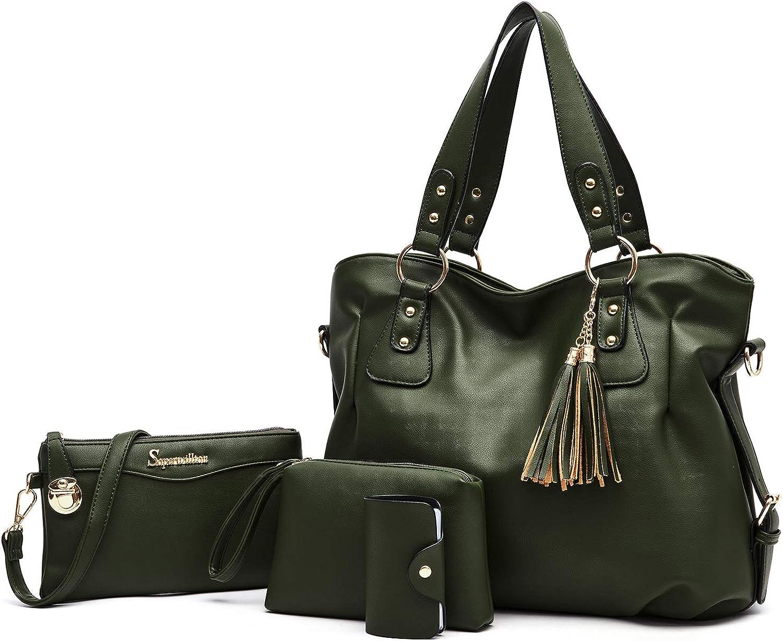 Soperwillton Fashion Handbag for Women Shoulder Bag Top Handle Satchel Hobo Tote Bag Purse Set 4pcs