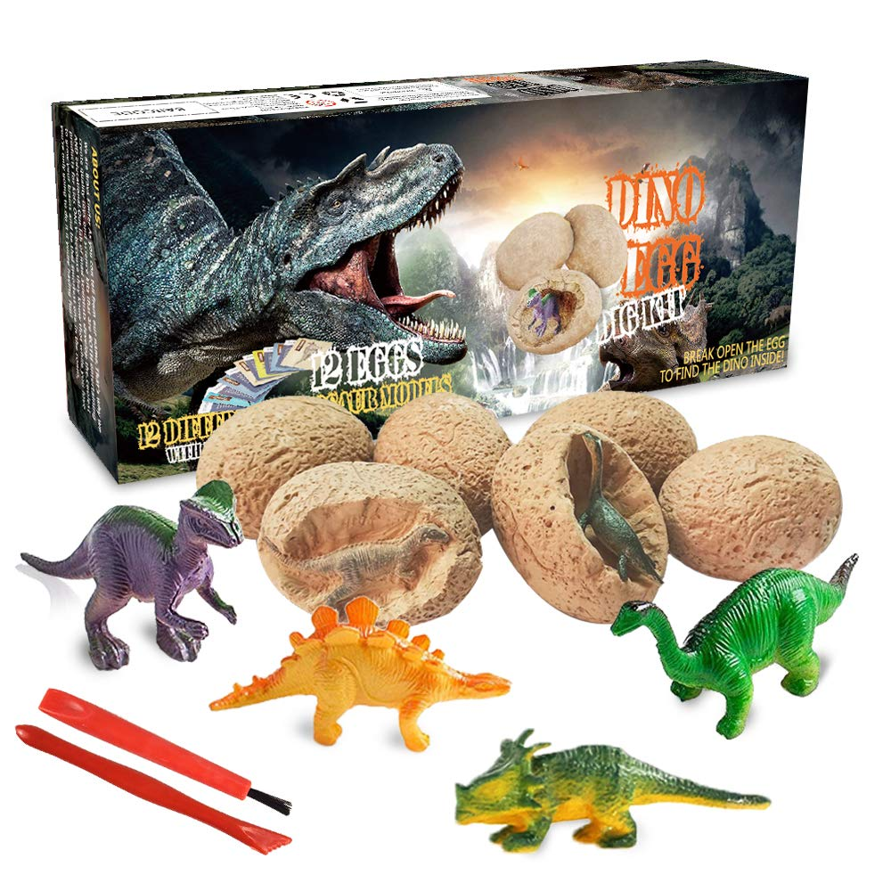 Dinosaur Toys, Dino Egg Dig Kit Kids Gifts - Break Open 12 Unique Dinosaur Eggs and Discover 12 Cute Dinosaurs - Easter Archaeology Science STEM Kids Toys for Age 6+Years Old Boys Girls Gifts by Brave Finder