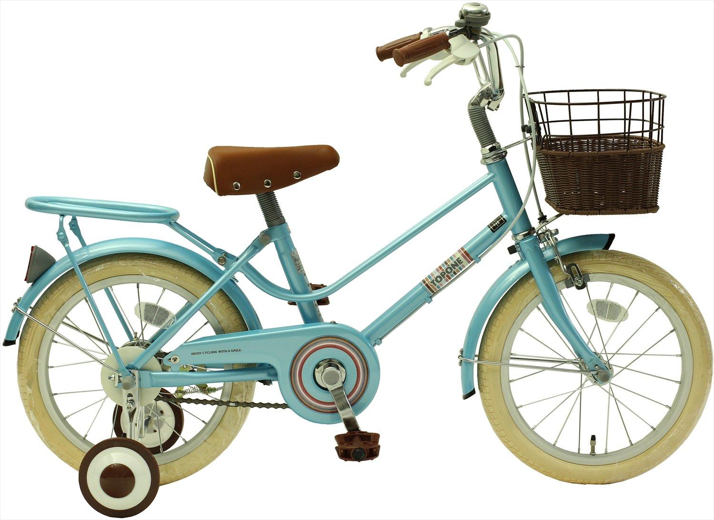TOPONE キッズ ジュニアサイクル 16インチ 子供用自転車 補助輪 籐風前カゴ ブルー B07BSGRYZT