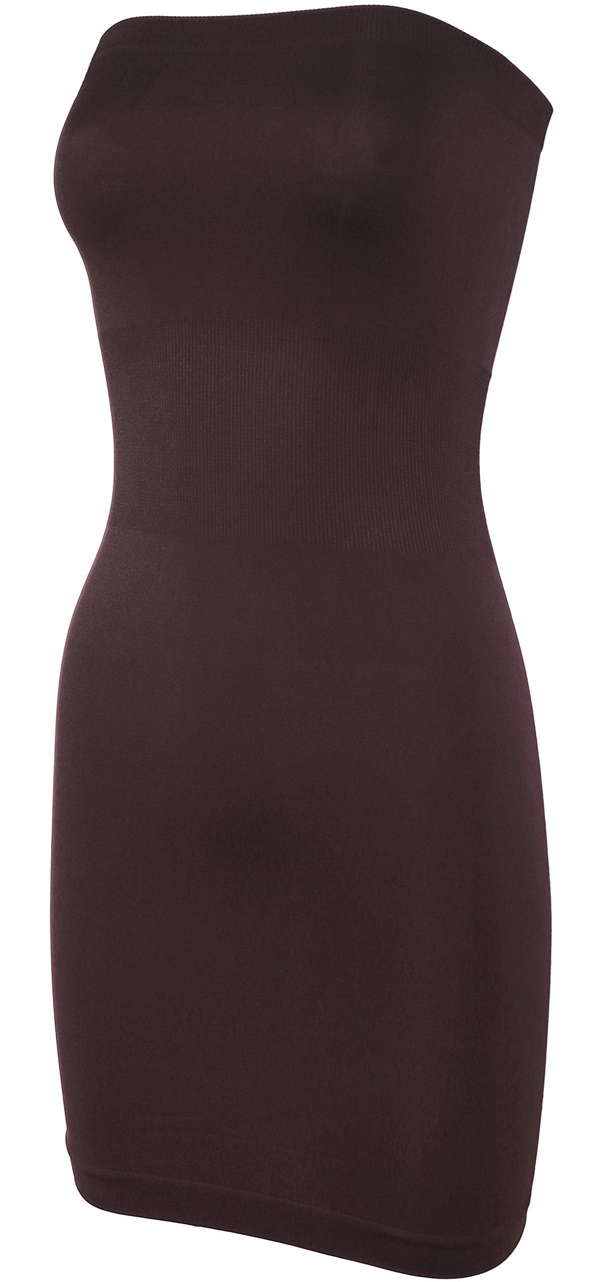 KMystic Seamless Strapless Tube Slip Dress (Brown),One Size