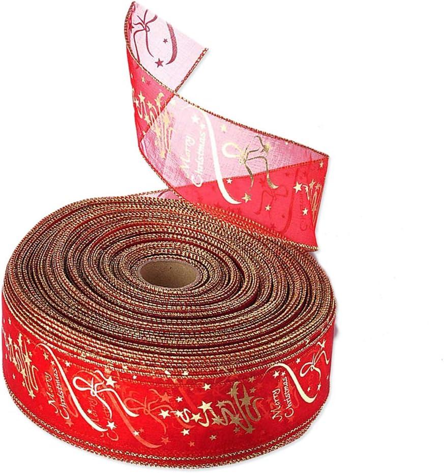 BESTOYARD Weihnachtsbaum Band Xmas Silk Ribbon Dekoration Geschenkpapier B/änder 200x6,3 cm