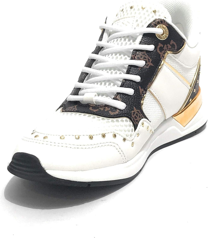 Guess Scarpe Donna Sneaker Running Rejjy in Ecopelle/Tessuto Bianco/Brown DS20GU03 Animalier
