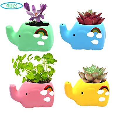 4 Pack Ceramic Succulent Planter Pot, Colorful Cute Elephant Shape Cactus Bonsai Planter Container for Indoor/Outdoor Garden Home Office Decoration : Garden & Outdoor