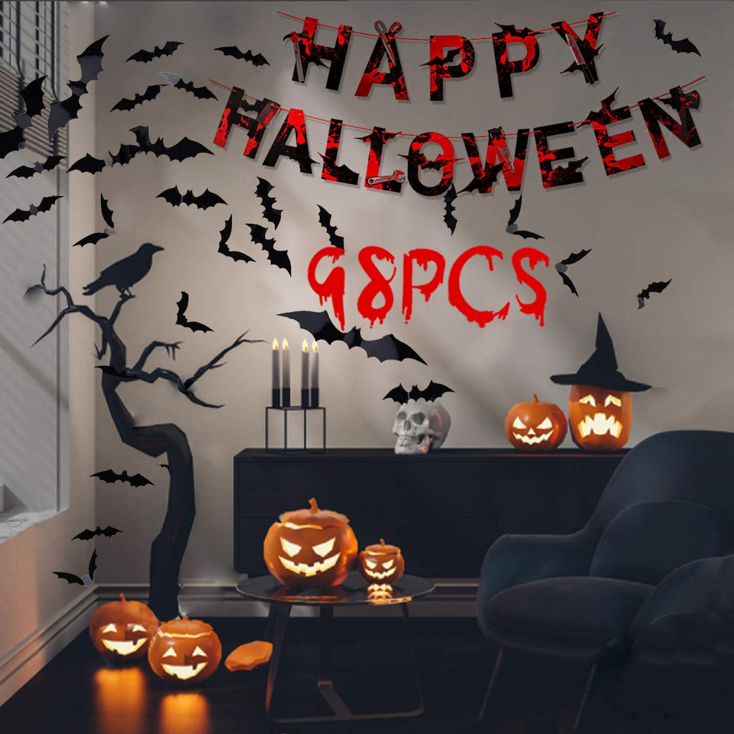 Halloween Decoration, Party Decorations with Decor Bats& Happy Halloween Banner, 3d Decoration Scary Bats Wall Decal Wall Sticker for Indoor Halloween Home Party Office Dormitory School Decor Supplies