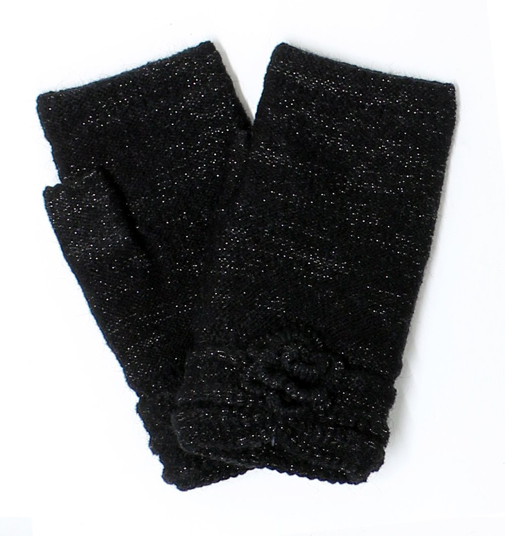 LL- Womens Winter Knit Fingerless Fashion Gloves Fleece Lined Assorted Patterns and Colors (Black Shimmer)