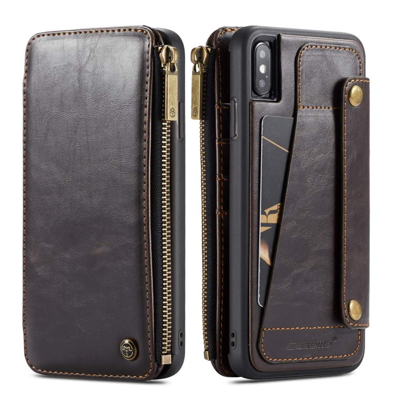 iPhone 6s / 7/8 Plus XR XS用取り外し可能2 in 1付きカードスロット付きフリップジッパーウォレットレザー付きiPhone Xsマックスケースウォレットレザー(iPhone xr用コーヒー)   B07KQGM6WS