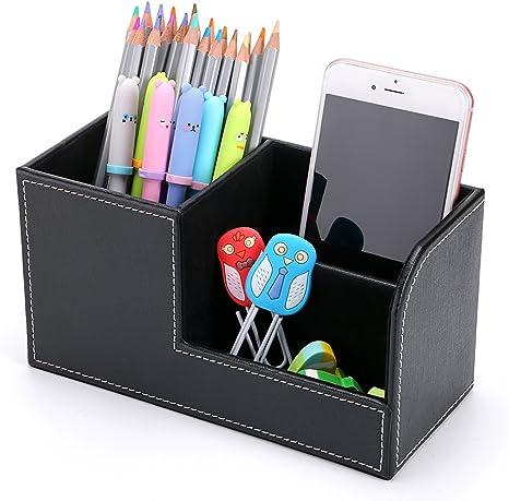 BTSKY Caja de Cuero de Almacenamiento para Escritorio Organizador ...