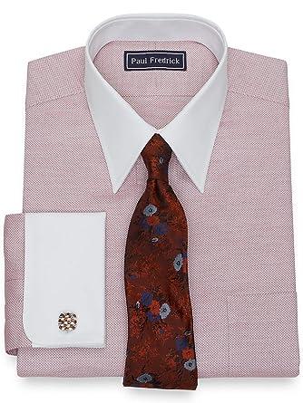 864037978d14 Paul Fredrick Men s Cotton Textured French Cuff Dress Shirt Rust 15.0 34