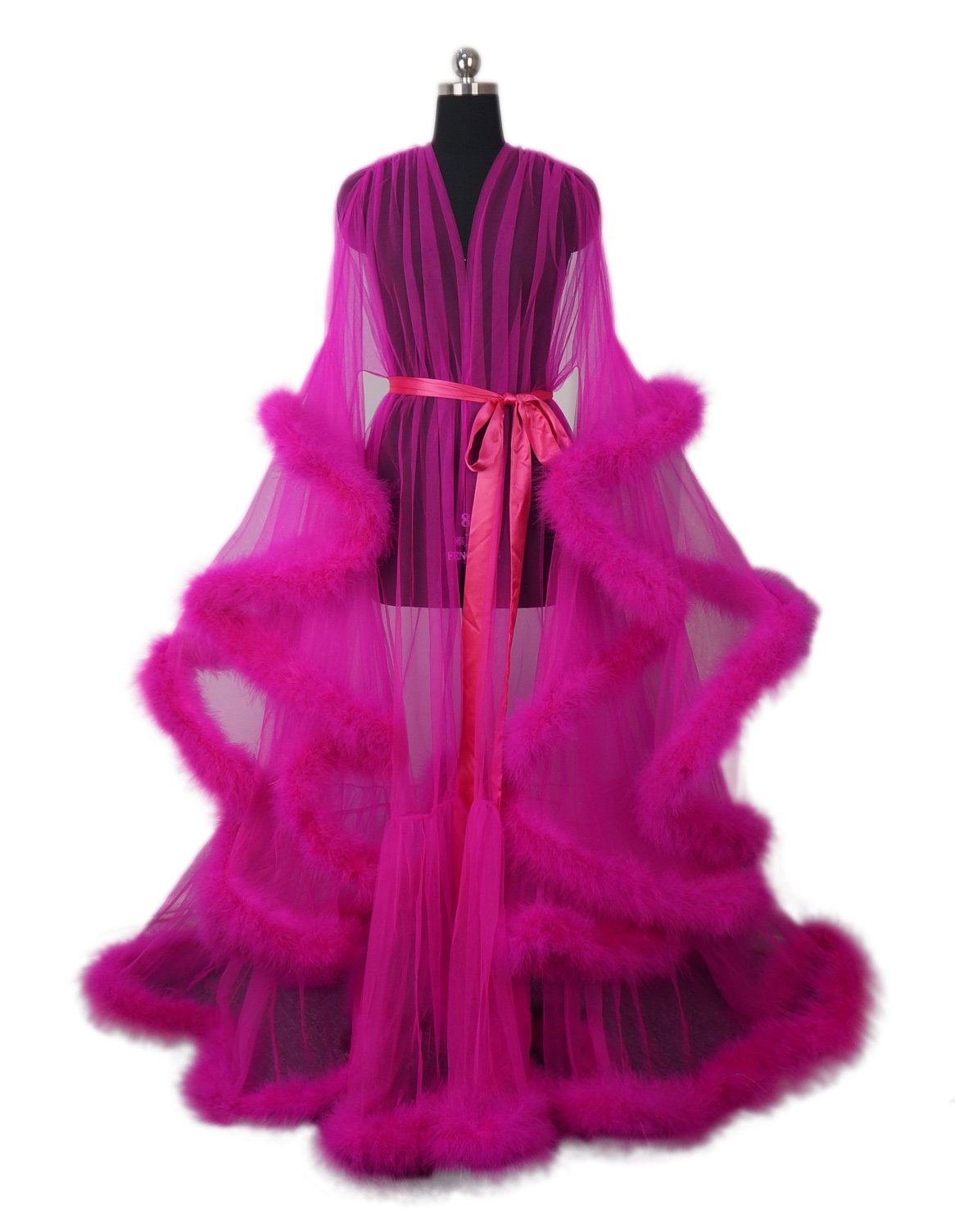 Old Hollywood Feather Robe Sexy Boudoir Robe Feather Bridal Robe Tulle Illusion Long Wedding Scarf New Custom Made Fuchsia