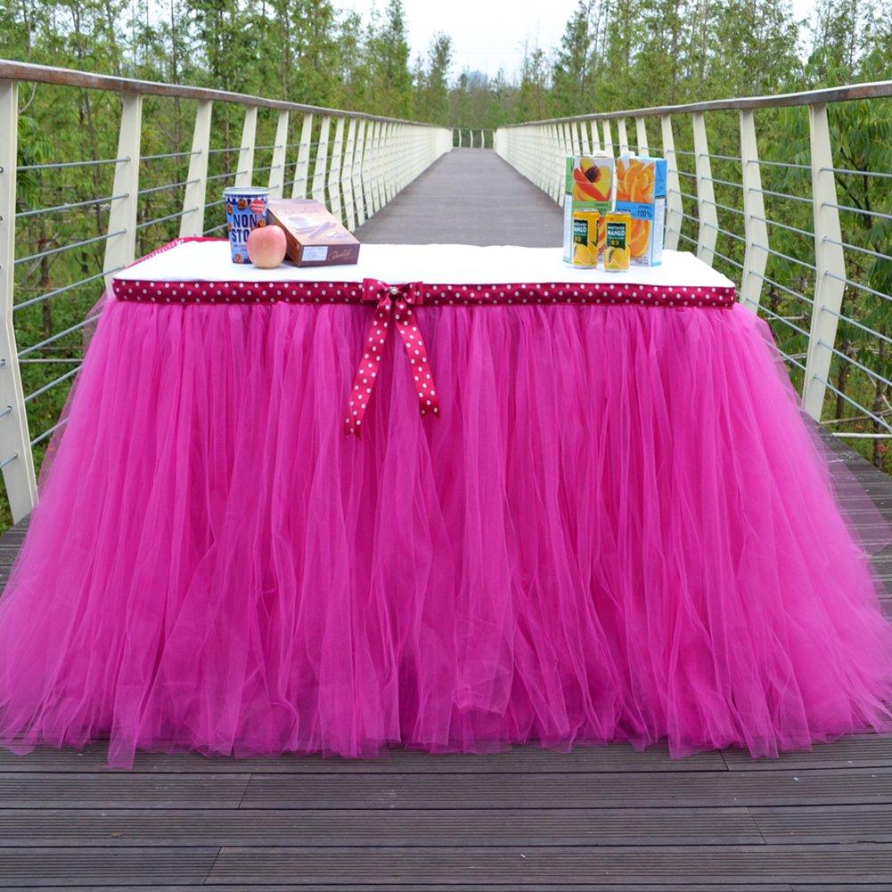 LianLe mesa de tutú faldas para niña princesa fiesta bebé ducha boda cumpleaños decoración