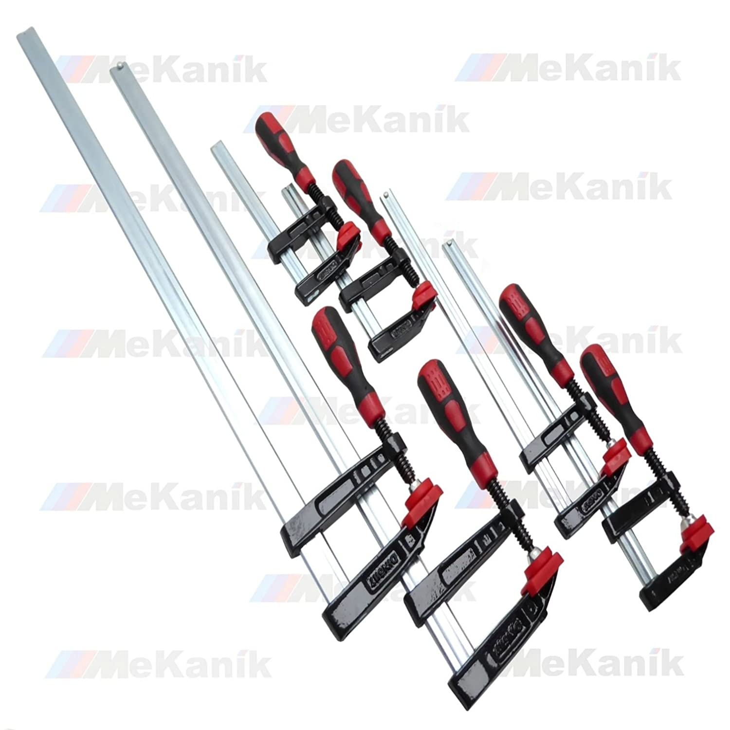 6pc F Clamp Bar Clamp 2x 6', 2x 12' & 2 x 24'Long Quick Slide Wood Clamp 2x 12 & 2 x 24Long Quick Slide Wood Clamp Mekanik