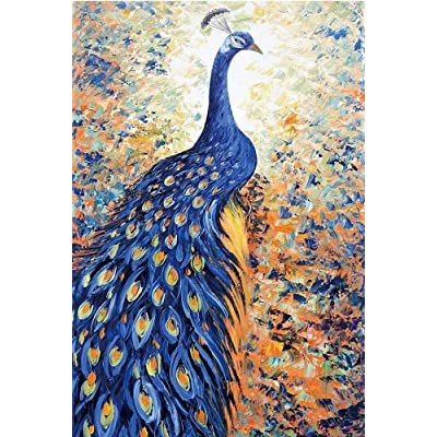 Jigsaw Puzzles,HANDSKIT 1000 Pieces Elegant Peacock Blue Peacock Tail Puzzle Art Collectible Decoration Education Toy Puzzle Game for Kids and Adults: Toys & Games