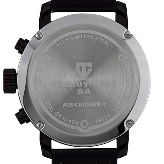 Amazon.com: Tschuy-Vogt SA A15 Crusader Mens Swiss Chronograph Watch - Black Genuine Leather Strap, Green Dial, Black Case: Watches