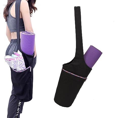 UCOOLY Yoga Mat Bag Tote Sling Carrier with Large Side Pocket & Zipper Pocket | Fits Most Size Mats