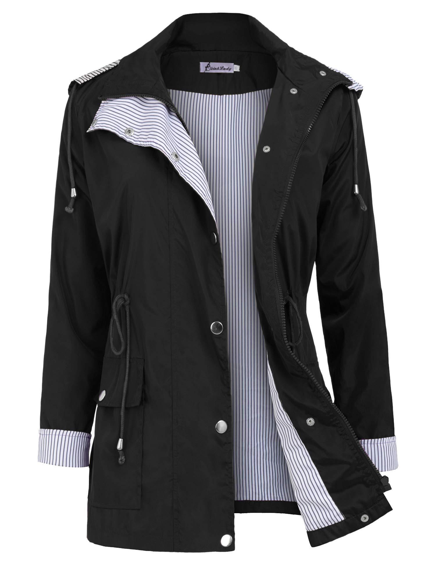 Twinklady Rain Jacket Women Windbreaker Striped Climbing Raincoats Waterproof Lightweight Outdoor Hooded Trench Coats Short Black S by Twinklady
