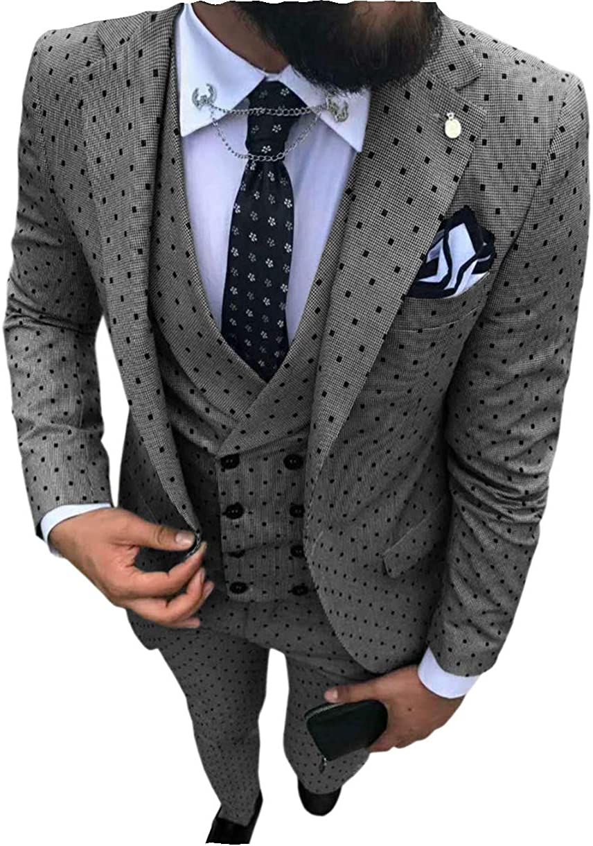 Selling Men's Ranking TOP4 3 Pieces Slim Fit Dot Tuxedo Bridegroom Pringting Men Suit