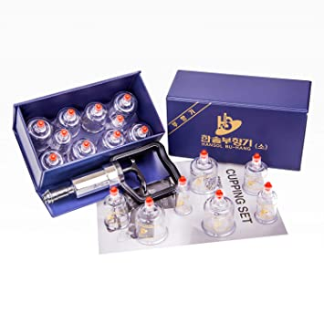 Hansol Professional Cupping Therapy Equipment Set With Pumping Handle 19 Cups Acupuncture Natural & Alternative Remedies
