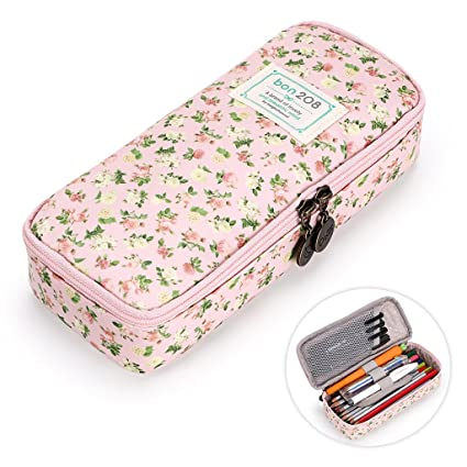 2e2ab1b0e73b BTSKY Cute Pencil Case - High Capacity Floral Pencil Pouch Stationery  Organizer Multifunction Cosmetic Makeup Bag