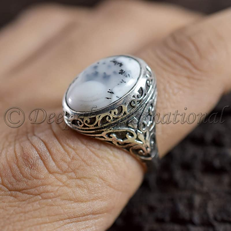 Real 925 Sterling Silver Ring Man/'s Ring Oxidized Arabic Ring Wedding Ring Natural Dendritic Opal Ring Jewelry For Gift Handmade Ring Big Ring Groom Ring Statement Ring