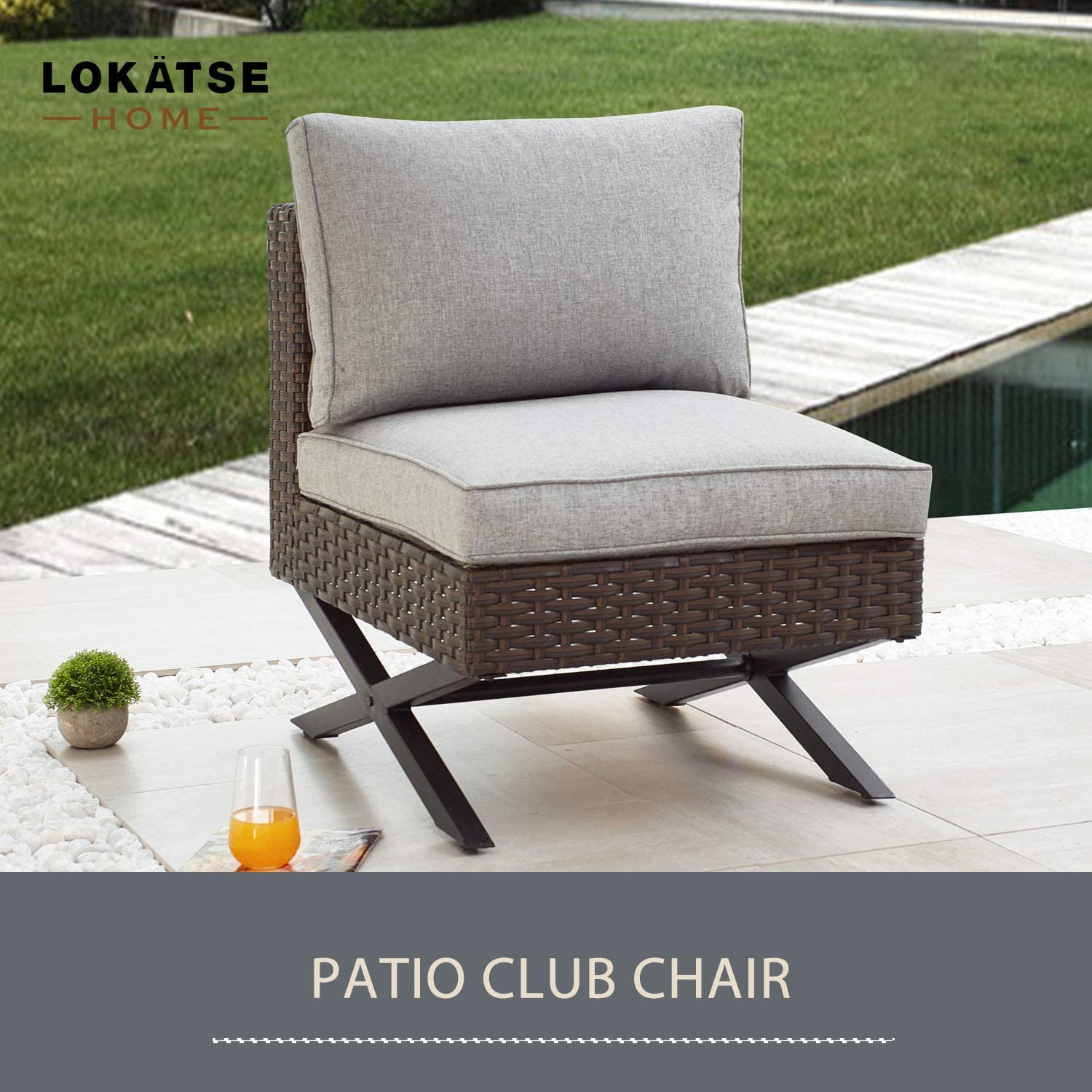 Brown LOKATSE HOME 3 Piece Conversation Set Sectional Rattan Patio Furniture Include 2 Armless Chairs and 1 Corner Sofa with X-Shaped Legs