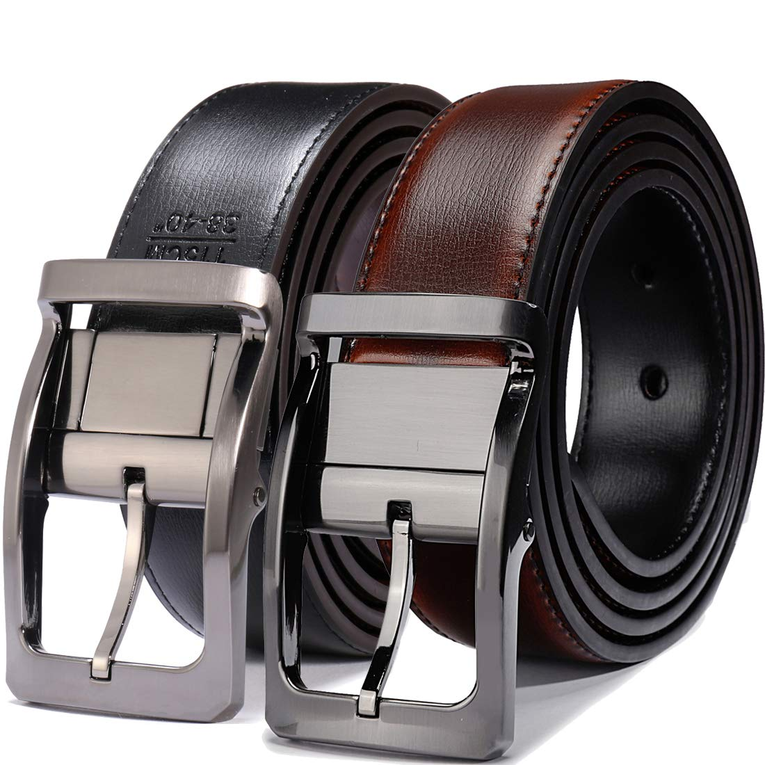 Belts for Men Reversible Leather 1.25'' Waist Strap Fashion Dress Buckle Beltox (Rectangle Rotated Buckle with Burnt Umber/Black Belt, 36-38)