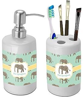 RNK Shops Elephant Bathroom Accessories Set (Ceramic) (Personalized)
