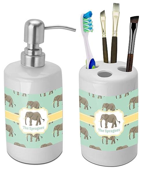 Elephant Bathroom Accessories Set (Ceramic) (Personalized)