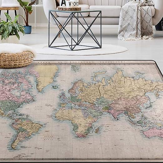Amazon Com Naanle Vintage World Map Area Rug 5 X7 Educational