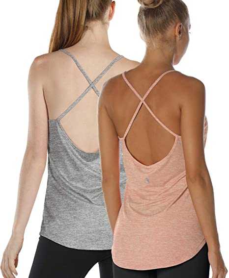 Open Back Strappy Athletic Tanks Exercise Gym Shirts(Pack of 2) icyzone Workout Tank Tops for Women Yoga Tops