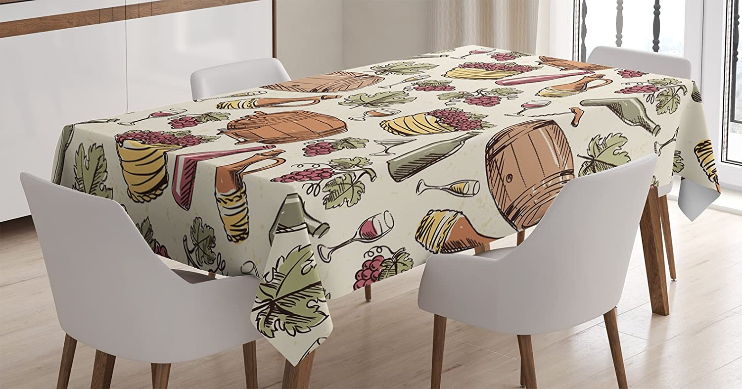 Amazoncom Ambesonne Winery Decor Tablecloth Wine Barrel Bunch Of