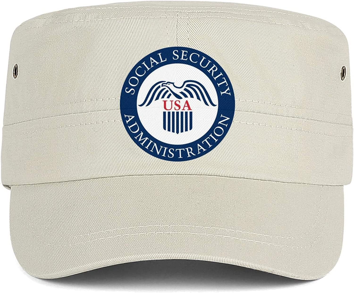 Social Security Administration Army Cap Cadet Corps Hat Military Flat Top Adjustable Baseball Cap Vintage