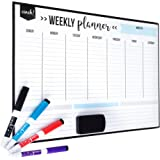 "Magnetic Dry Erase Weekly Calendar for Fridge: with Stain Resistant Technology - 17x12"" - 4 Fine Tip Markers and Large…"