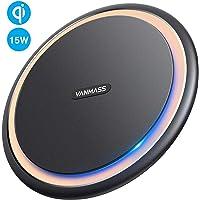 【村田製チップ/最大15W急速充電】 VANMASS Qi 15W ワイヤレス充電器 急速充電 置くだけ充電 PSE認証 ワイヤレスチャージャー 15W/7.5W/10W 滑り止め 充電器 無線充電器 iPhone 11/11 Pro/XS/XS Max/XR/X / 8 / 8 Plus/airPods 2/airPods Pro、Galaxy S9 / S9+ / S8 / S8+/S10/S10+/その他Qi対応機種 Type c ケーブル付属