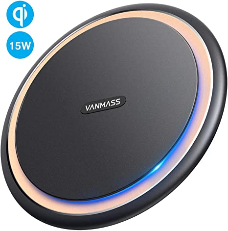VANMASS Cargador inalámbrico, Qi Wireless Charging Pad, 10W ...
