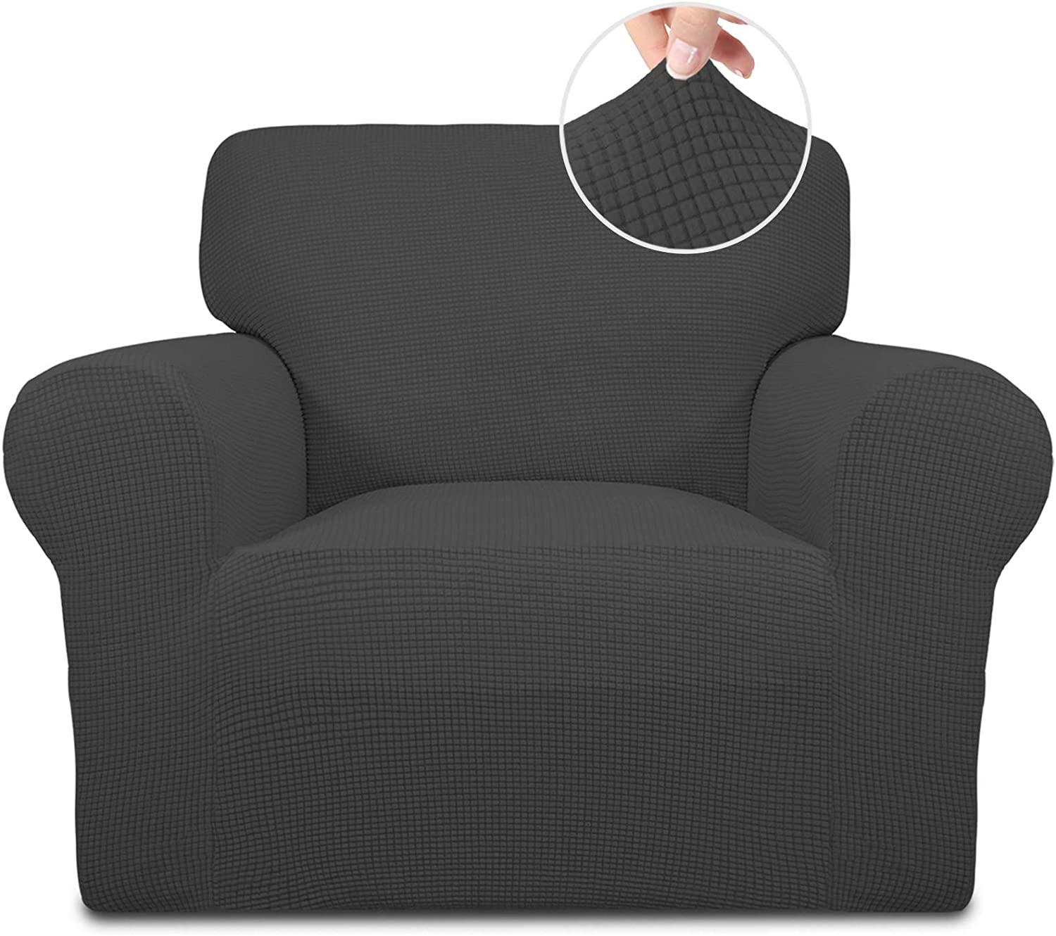 Easy-Going Stretch Chair Sofa Slipcover 1-Piece Couch Sofa Cover Furniture Protector Soft with Elastic Bottom for Kids. Spandex Jacquard Fabric Small Checks(Chair,Dark Gray): Kitchen & Dining
