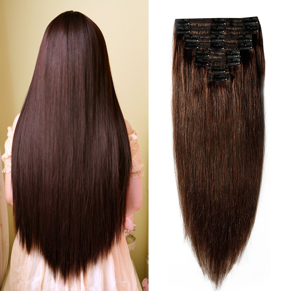 Double Weft 100% Remy Human Hair Clip in Extensions 10''-22'' Grade 7A Quality Full Head Thick Thickened Long Soft Silky Straight 8pcs 18clips for Women Beauty (20'' / 20 inch 150g,#2 Dark Brown) by MY-LADY