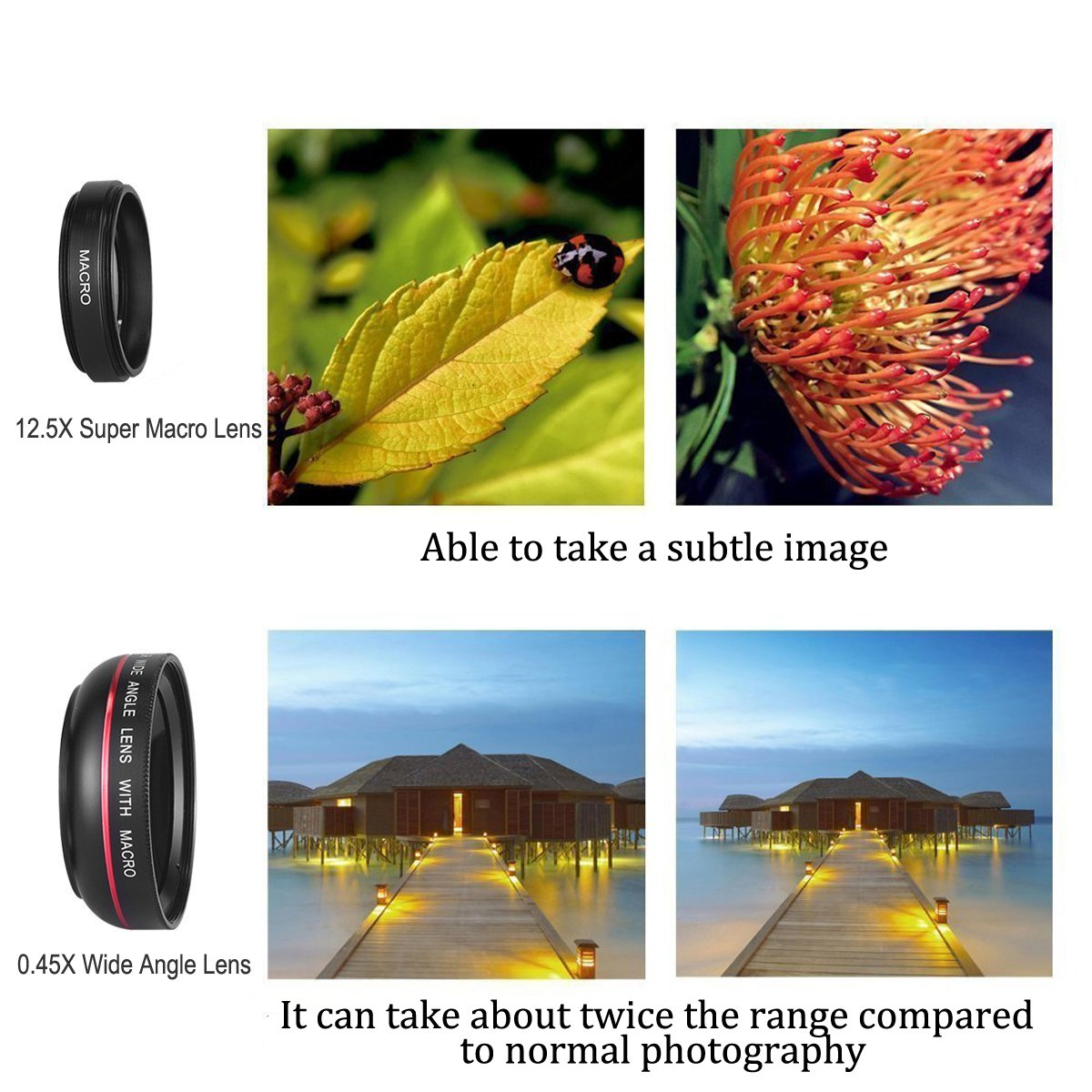 Mactrem Lentes de Movíl Ángulo Amplio Ojo de Pez de 3 en 1 Clip-On con lente angular/ojo de pez para iPhone6/6s 12.5X Super Macro Lens + 0.45X Wide Angle Lens para iPhone 7 / 7 Plus / 6 / 6 Plus / 5S / 5, Samsung Galaxy S6 / S6 Edge / S5, e
