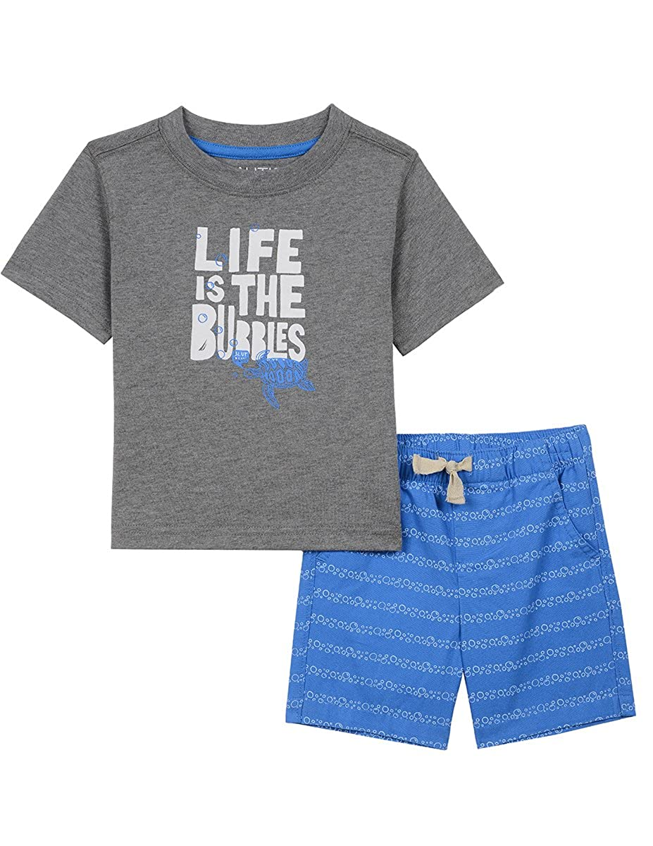 Nautica Baby Boys' Graphic Tee with Pull on Short Set N030B65Q