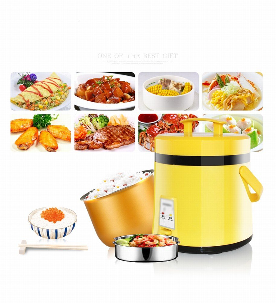 DIDIDD Mini Rice Cooker 1-2 People Home Small Rice Cooker,Yellow by DIDIDD (Image #2)