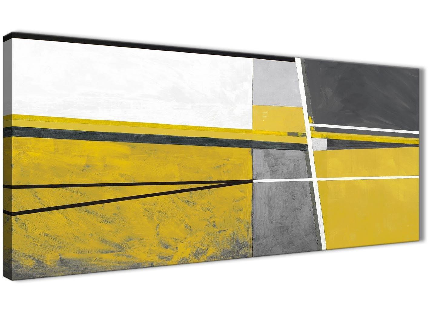 senape giallo grigio pittura soggiorno tela Wall Art Accessories–estratto 1388–120cm stampa Wallfillers
