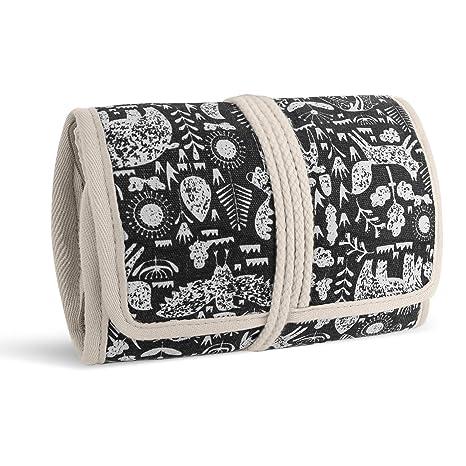 Teamoy Roll para Joyería Organizador de Joyas Estuche de Viaje para Collares, Pendientes, Pulseras, broches, 3 Carpetas, Varios departamentos, Mundo ...