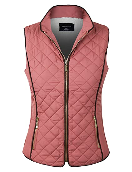 d0b66c11629d makeitmint Women's Basic Solid Quilted Padding Jacket Vest w/Pockets
