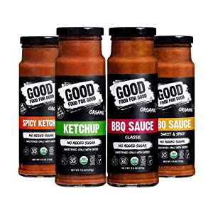 Good Food For Good Organic Ketchup & BBQ Combo, No Added Sugar - Keto, Whole30 Approved - Classic, 9.5 Oz (4-Pack)