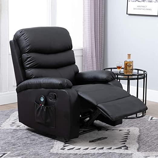 Amazon Com Homcom Manual Massage Recliner Chair With Heat And Remote Control 8 Massaging Points Pu Leather Black Furniture Decor