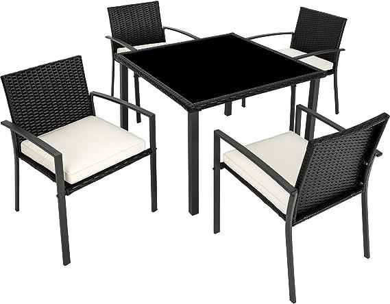 TecTake 800662 - Conjunto Muebles de Jardín Poliratán, Set 4 Sillas y 1 Mesa, Tornillos de Acero Inoxidable (Negro | No. 403025): Amazon.es: Productos para mascotas