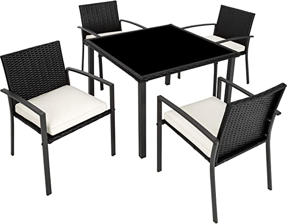 TecTake 800662 Salon de Jardin 4 Chaises 1 Table en Résine Tressée -  diverses Couleurs - (Noir | No. 403025)